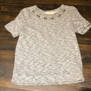 LOFT grey jeweled blouse